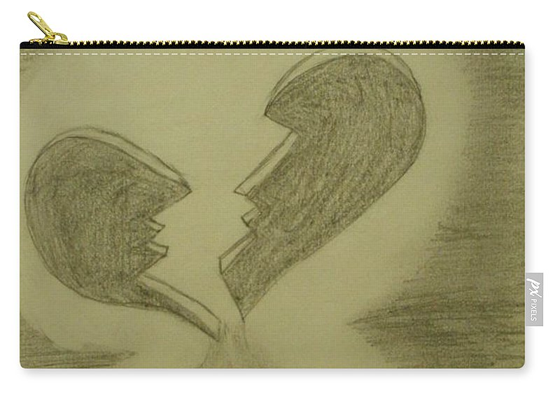 Broken Carry-all Pouch featuring the drawing Broken by Thomasina Durkay