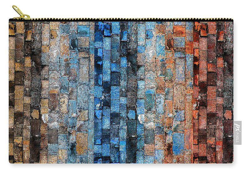 Bricks Carry-all Pouch featuring the digital art Bronze Blue Wall by Stephanie Grant