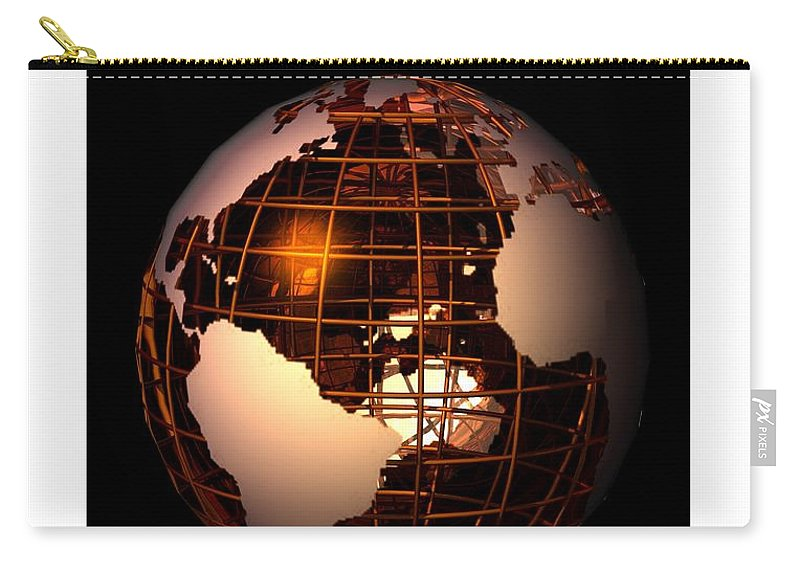 Abstract Carry-all Pouch featuring the digital art Bronze Globe... by Tim Fillingim
