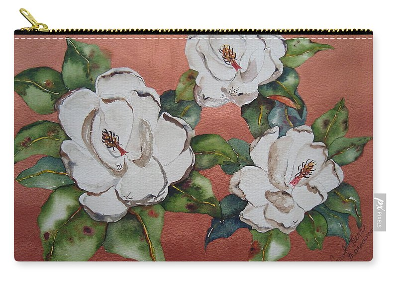 Magnolia Carry-all Pouch featuring the painting Bronze Magnolia by Carol Lindquist