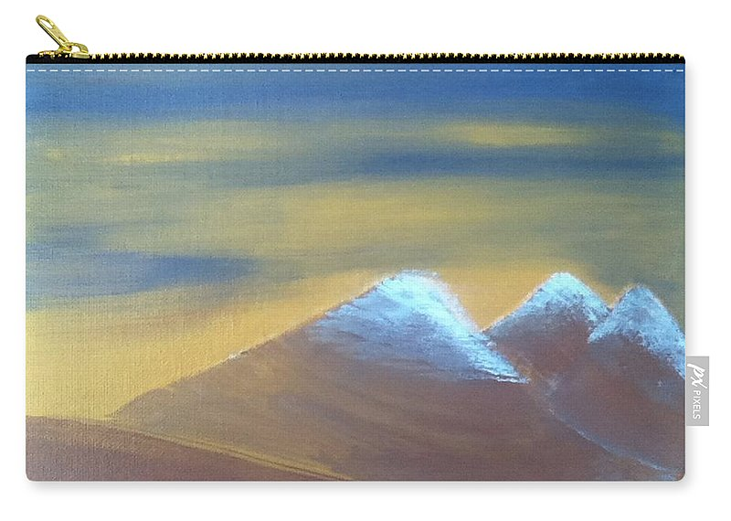 Gold Carry-all Pouch featuring the painting Bronze Mountains by Kimberly Vital