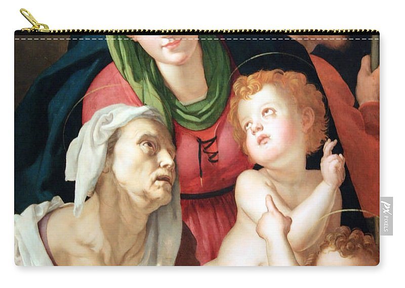 The Carry-all Pouch featuring the photograph Bronzino's The Holy Family by Cora Wandel
