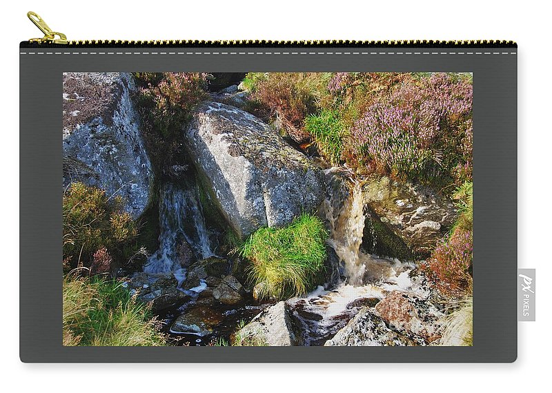 Water Art Country Life Sunlit Travel Outdoors Nature Bubbling Brook Ireland County Wicklow Heather Granite Rocks Meditation Movement Serenity Feng Shui Canvas Print Metal Frame Poster Print Available On Greeting Cards T Shirts Shower Curtains Tote Bags Pouches Weekender Tote Bags Phone Cases And Mugs Carry-all Pouch featuring the photograph A Brook In The Wicklow Mountains, Ireland by Marcus Dagan