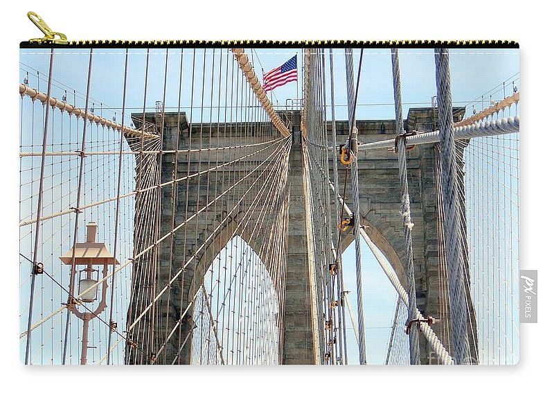 Brooklyn Bridge Carry-all Pouch featuring the photograph Brooklyn Bridge Cables by Ed Weidman