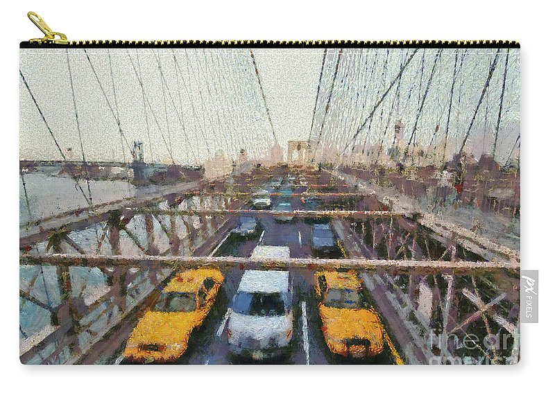 New York; Ny; N.y.; Nyc; Manhattan; Usa; U.s.a.; North America; American; Brooklyn; Bridge; Traffic; Cab; Cabs; Taxi; Taxis; Car; Cars; City; Promenade; Walkway; People; Tourists; Paint; Painting; Paintings Carry-all Pouch featuring the painting Brooklyn Bridge by George Atsametakis