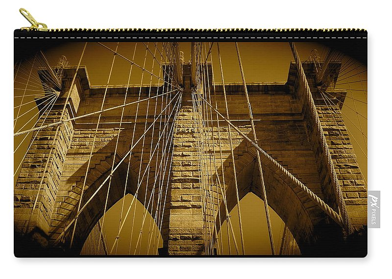 Brooklyn Bridge Prints Carry-all Pouch featuring the photograph Brooklyn Bridge by Monique's Fine Art