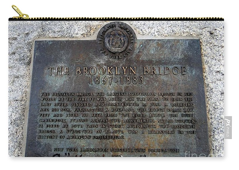 Landmark Carry-all Pouch featuring the photograph Brooklyn Bridge Plaque by Ed Weidman