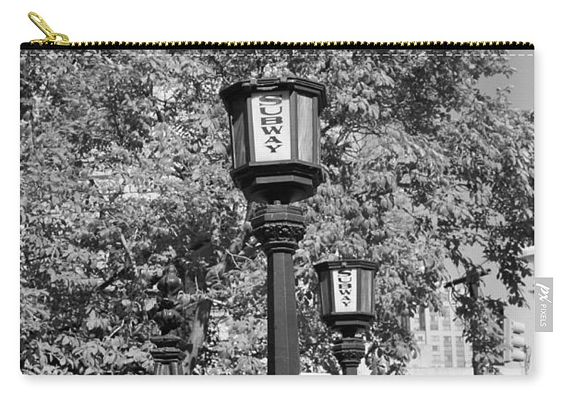Subway Station Carry-all Pouch featuring the photograph Brooklyn Train by Catie Canetti