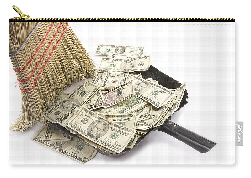 Business Carry-all Pouch featuring the photograph Broom Sweeping Up American Currency by Keith Webber Jr