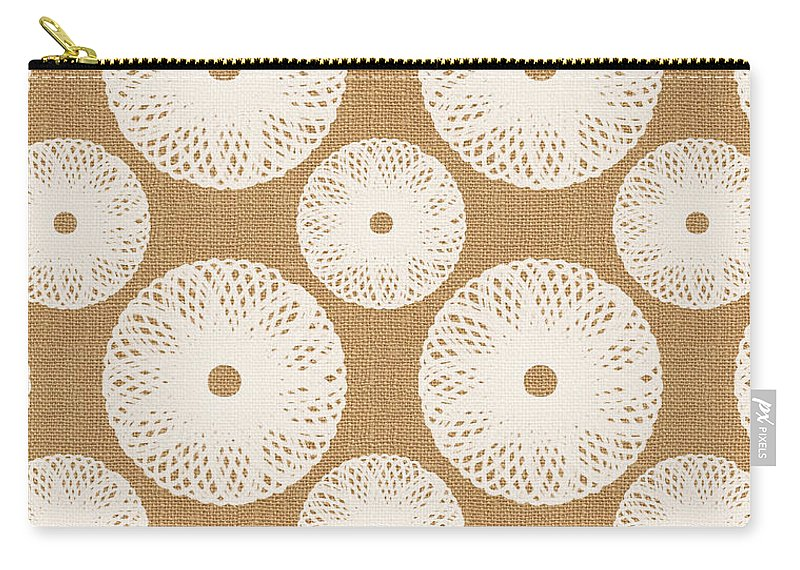 Floral Carry-all Pouch featuring the painting Brown and White Floral by Linda Woods