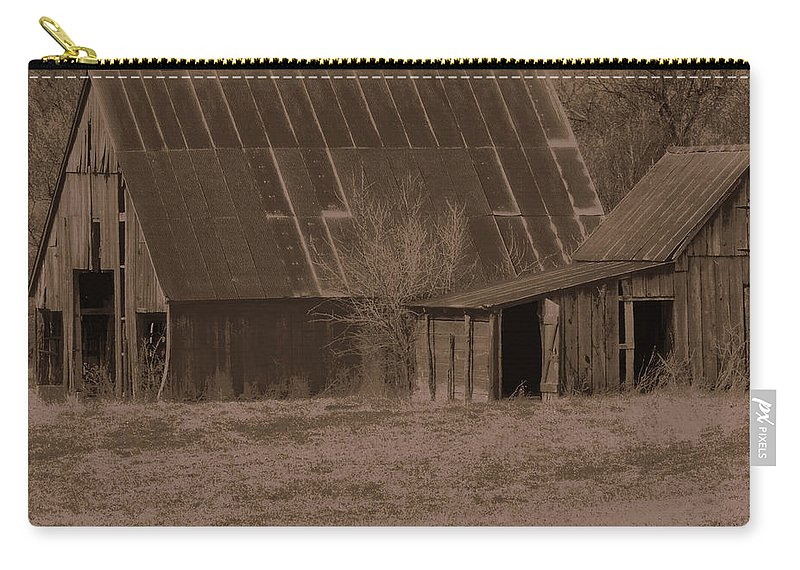 Brown Carry-all Pouch featuring the photograph Brown Barns by Lynn Sprowl