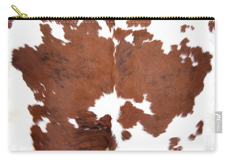 Abstract Carry-all Pouch featuring the photograph Brown Cowhide by Gunter Nezhoda