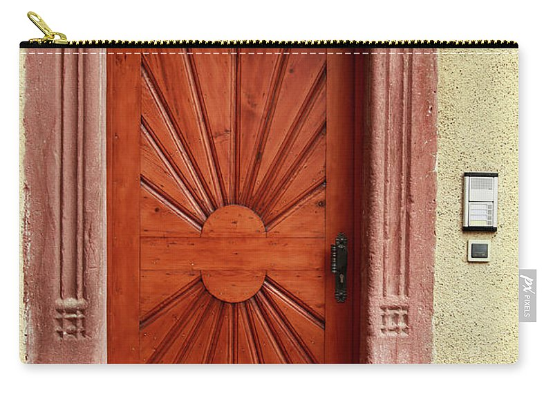 Apartment Carry-all Pouch featuring the photograph Brown Door Exterior Entrance by Bendebruyn