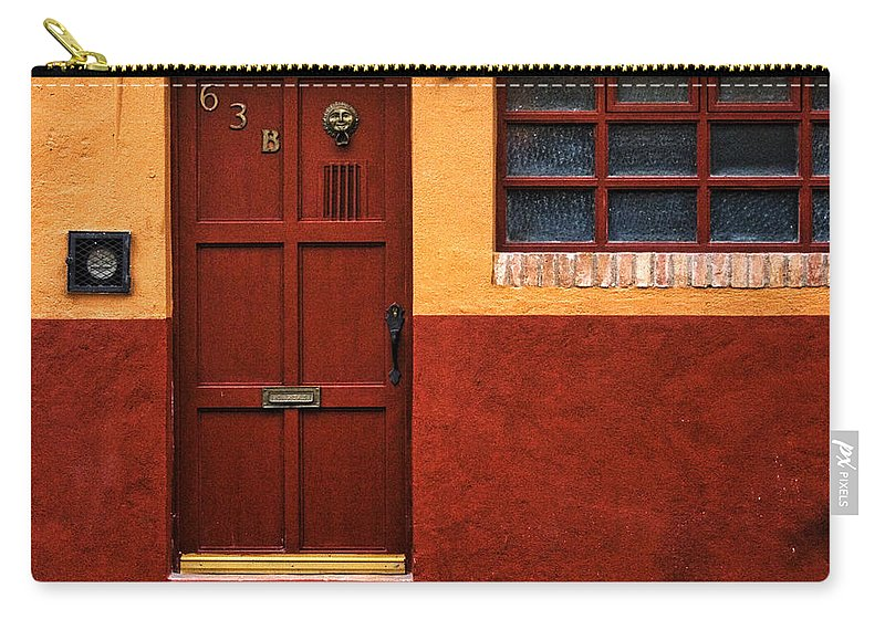 San Miguel De Allende Carry-all Pouch featuring the photograph Brown Door In Mexico by Carol Leigh