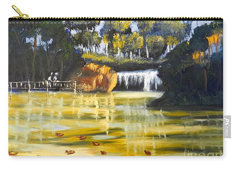 Impressionism Carry-all Pouch featuring the painting Brown Ducks Near The Waterfall by Pamela Meredith