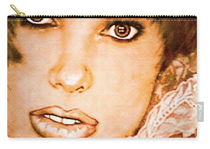 Portrait Carry-all Pouch featuring the photograph Brown Eyed Brunette by Ellen Cannon