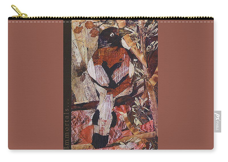 Brown-white-bird Carry-all Pouch featuring the mixed media Brown- White Bird by Basant Soni