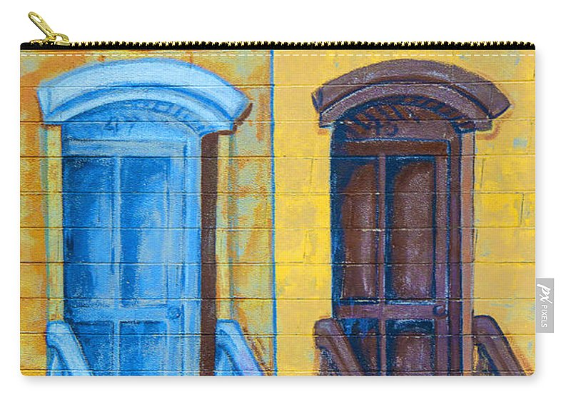 Brownstone Mural Carry-all Pouch featuring the photograph Brownstone Mural Art by Regina Geoghan