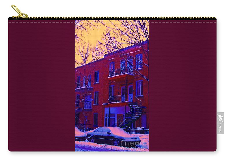 Montreal Carry-all Pouch featuring the photograph Brownstones In Winter 6 by Carole Spandau