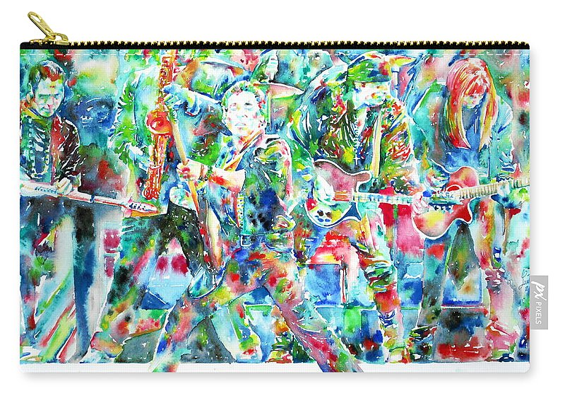 Bruce Carry-all Pouch featuring the painting Bruce Springsteen And The E Street Band - Watercolor Portrait by Fabrizio Cassetta