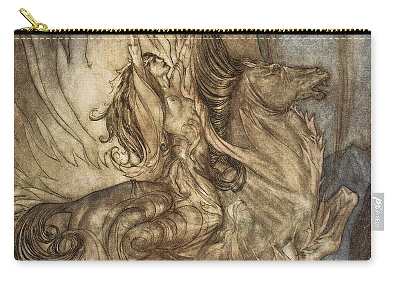 Der Ring Des Nibelungen Carry-all Pouch featuring the drawing Brunnhilde On Grane Leaps by Arthur Rackham