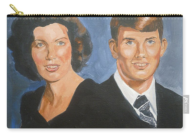 Portrait Carry-all Pouch featuring the painting Bryan And Gina by Bryan Bustard