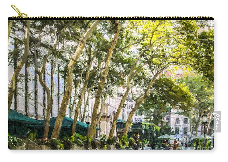 Bryant Park Carry-all Pouch featuring the digital art Bryant Park Midtown New York Usa by Liz Leyden