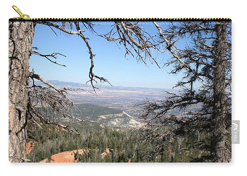 Trees Carry-all Pouch featuring the photograph Bryce Canyon Overlook With Dead Trees by Christiane Schulze Art And Photography