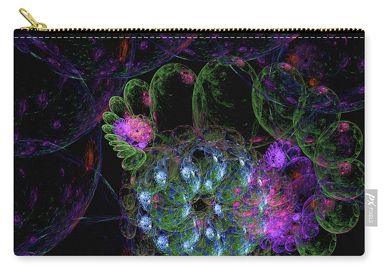 Fractal Art Carry-all Pouch featuring the digital art Bubble Stars by Richard J Cassato