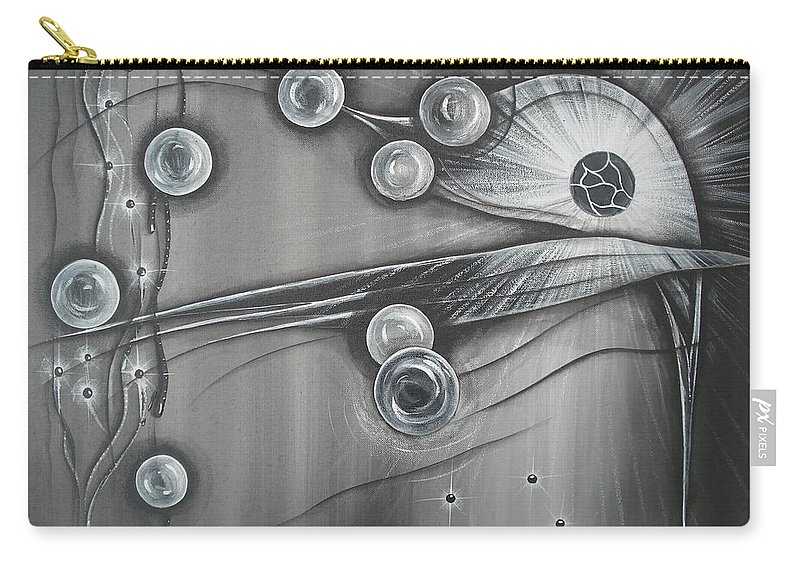 Bubbles Carry-all Pouch featuring the painting Bubbles In Grey by Krystyna Spink