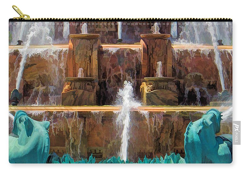 Buckingham Fountain Carry-all Pouch featuring the painting Buckingham Fountain Closeup by Christopher Arndt