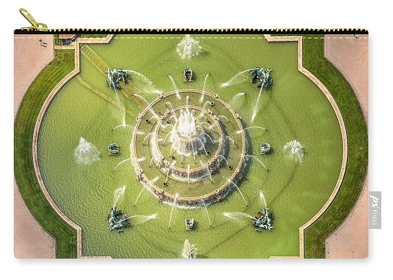 3scape Carry-all Pouch featuring the photograph Buckingham Fountain From Above by Adam Romanowicz