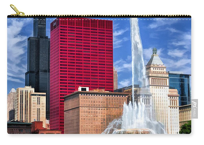 Buckingham Fountain Carry-all Pouch featuring the painting Buckingham Fountain Sears Tower by Christopher Arndt