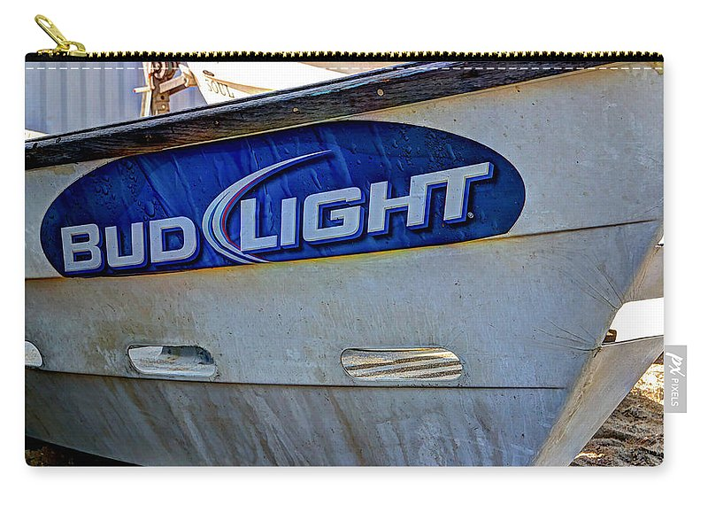 Blue Carry-all Pouch featuring the photograph Bud Light Dory Boat by Heidi Smith