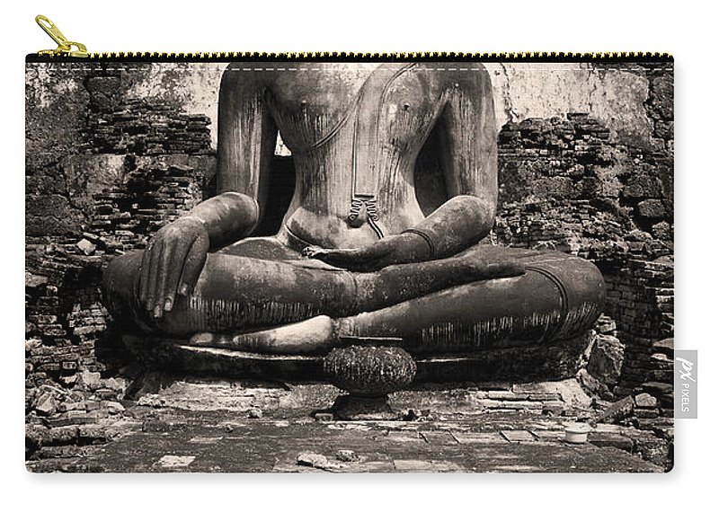 Antique Carry-all Pouch featuring the photograph Buddha In Meditation Statue by Artur Bogacki