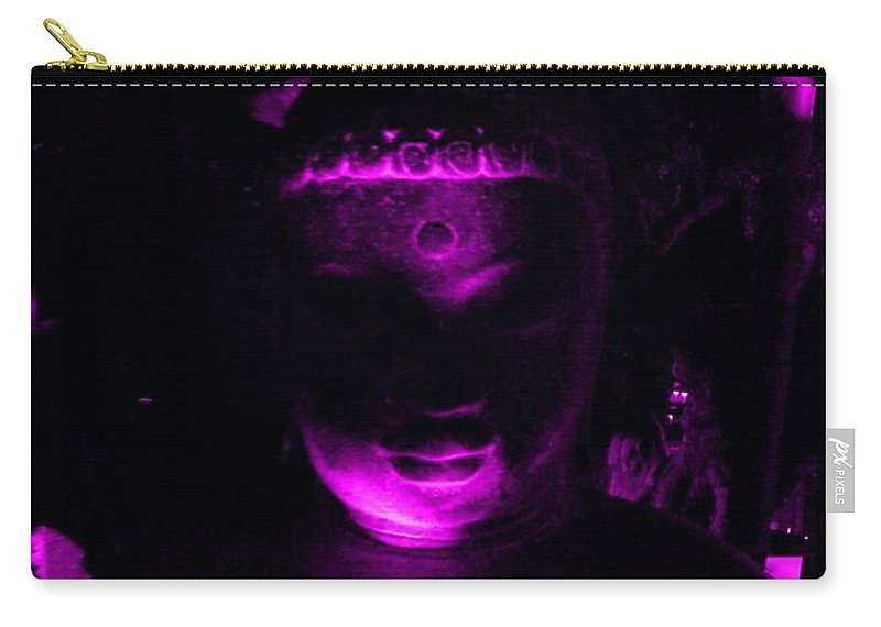 Buddha Carry-all Pouch featuring the photograph Buddha Reflecting Purple by Linda Prewer