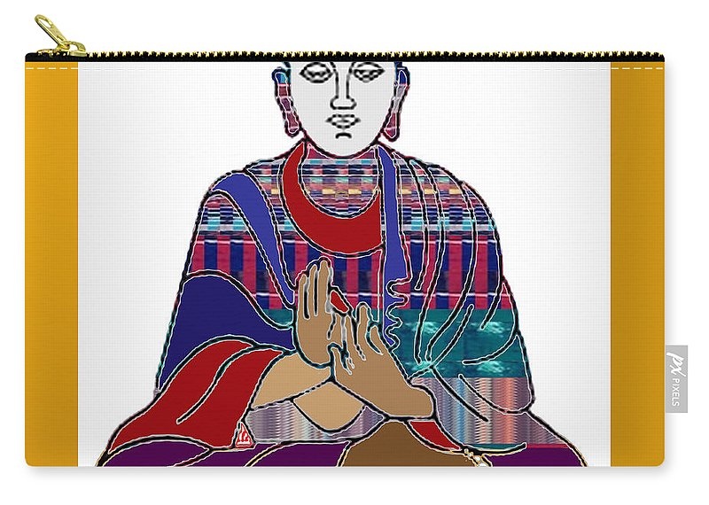 Buddha Carry-all Pouch featuring the painting Buddha Spirit Humanity Buy Faa Print Products Or Down Load For Self Printing Navin Joshi Rights Mana by Navin Joshi