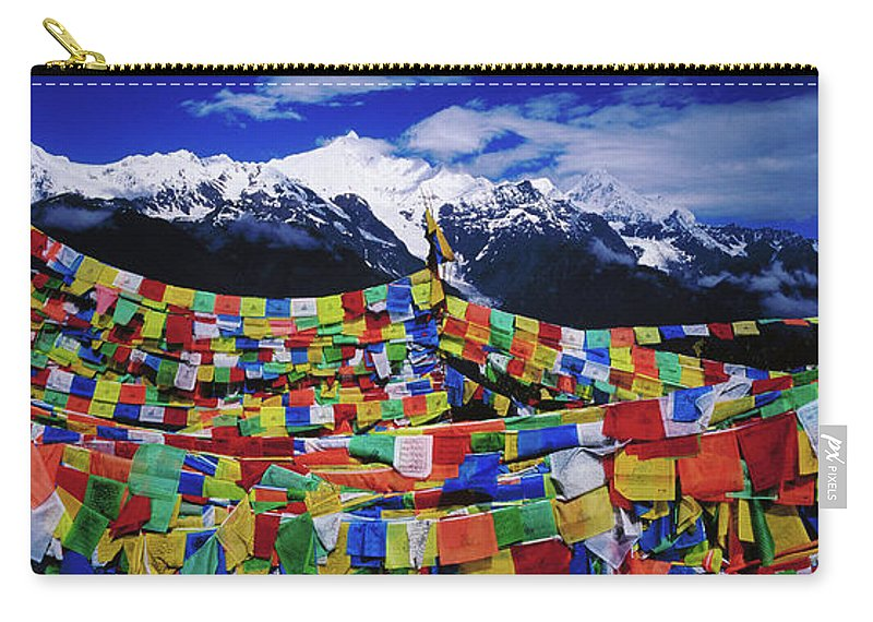 Chinese Culture Carry-all Pouch featuring the photograph Buddhist Prayer Flags With Meili by Richard I'anson