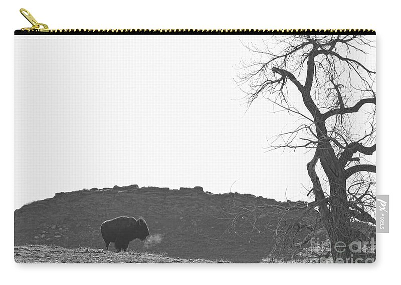Buffalo Carry-all Pouch featuring the photograph Buffalo Breath Bw by James BO Insogna