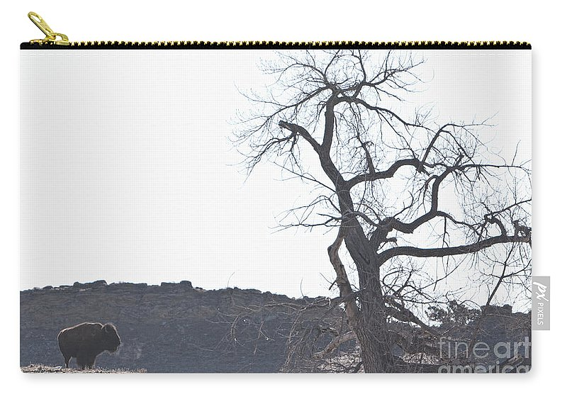 Buffalo Carry-all Pouch featuring the photograph Buffalo Breath In The Winter Air by James BO Insogna