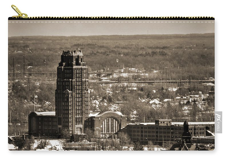 Winter Carry-all Pouch featuring the photograph Buffalo Central Terminal Winter 2013 by Michael Frank Jr