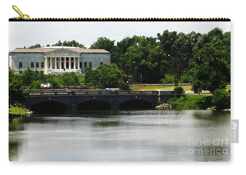 Buffalo History Museum Carry-all Pouch featuring the photograph Buffalo History Museum And Delaware Park Hoyt Lake Oil Painting Effect. by Rose Santuci-Sofranko