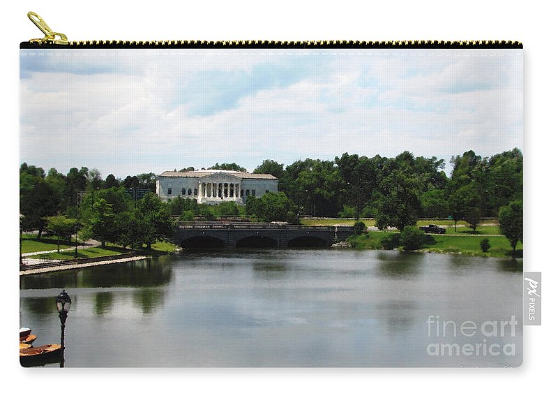 Buffalo History Museum Carry-all Pouch featuring the photograph Buffalo History Museum And Delaware Park Hoyt Lake Oil Painting Effect by Rose Santuci-Sofranko