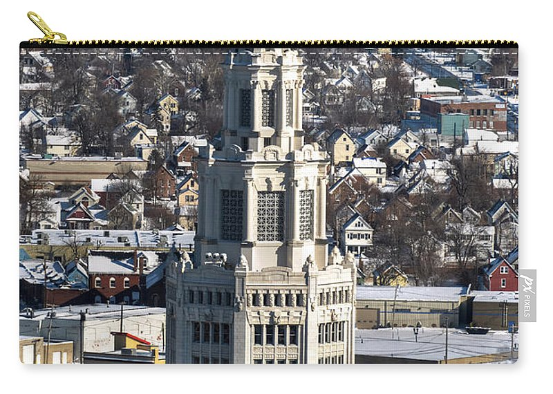 Winter Carry-all Pouch featuring the photograph Buffalo Ny Electric Building Winter 2013 by Michael Frank Jr