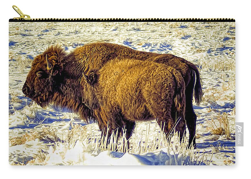 Buffalo Carry-all Pouch featuring the photograph Buffalo Painting by Alan Hutchins
