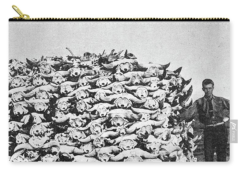 1892 Carry-all Pouch featuring the photograph Buffalo Skulls, 1892 by Granger