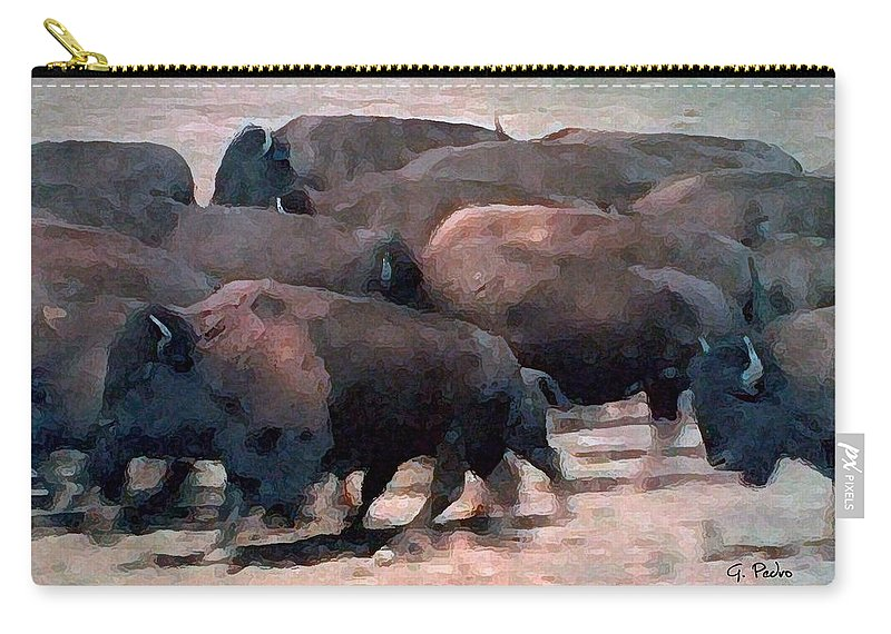 Buffalo Carry-all Pouch featuring the painting Buffalo Stampede by George Pedro