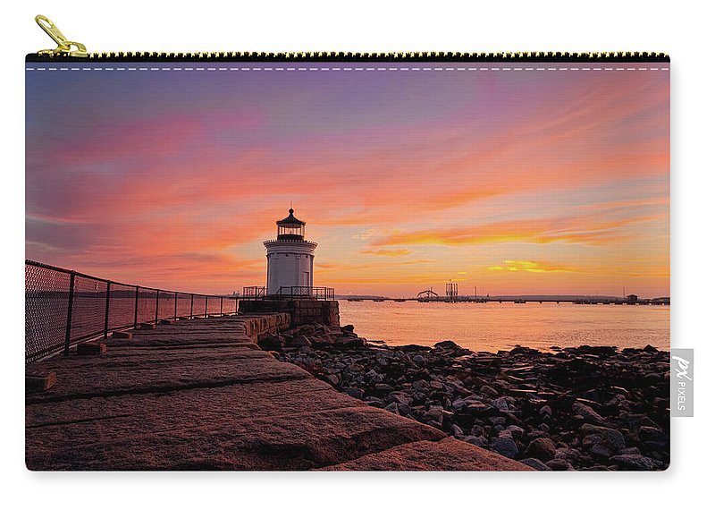 Built Structure Carry-all Pouch featuring the photograph Bug Light Sunrise 1899 by Www.cfwphotography.com