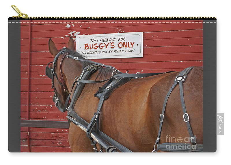Amish Carry-all Pouch featuring the photograph Buggy Attached by Ann Horn