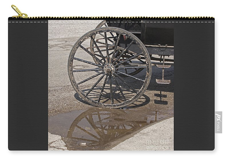 Amish Carry-all Pouch featuring the photograph Buggy Wheels by Ann Horn
